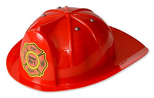 Child Helmet Firefighter Black - Kid's Fireman Hat; Red Firefighter Hat