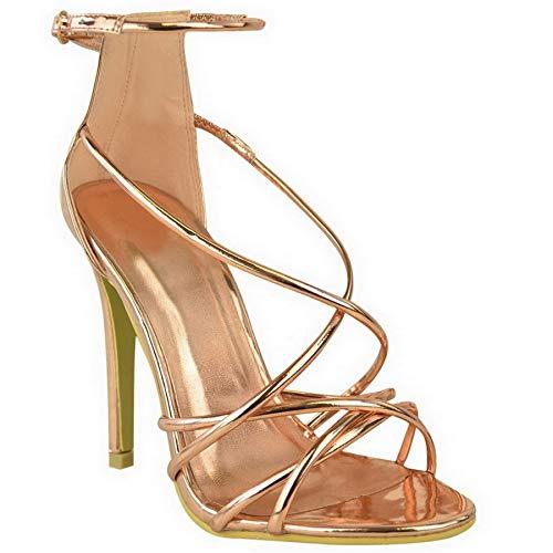 Tira Sandalias Toe Barely Mujer Zapatos Oro En Tobillo Tacón Nuevo Correas Con Metálico Abierto Peep Tamaño Rosa There De Alto wf0afZq