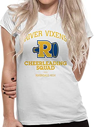 Amazon Com Riverdale Womens Ladies River Vixens Cheerleading Squad Fitted T Shirt Xl White Clothing