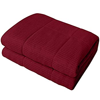 Image of YEMYHOM Weighted Blanket Adult Jacquard Fabric Bed Heavy Blankets with Glass Beads for Great Sleeping (48''x72'' 15lbs, Wine Red) YEMYHOM B07RFGQDW2 Weighted Blankets