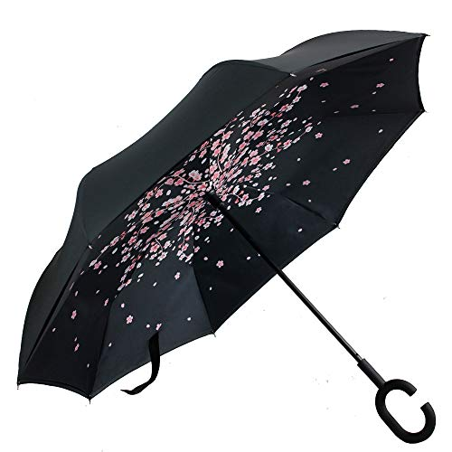 FUNTRESS Windproof Compact Umbrella For Woman,UV Protection Car Umbrella ,Big Stick Upside Down Umbrella with Double Layer Canopy(Cherry Blossoms)