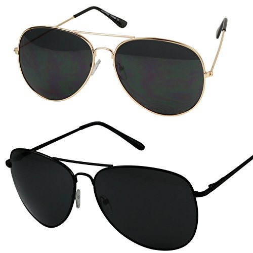 Basik Eyewear - Oversized Pilot Aviator XL Wide Frame Extra Large Sunglasses 150mm (2-Pack (1 Black & 1 Gold), Black - For Extra Sunglasses Aviator Large Men