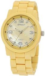 Sprout Women's ST/5042YMYL Diamond Dial Yellow Corn-Resin Bracelet  Watch