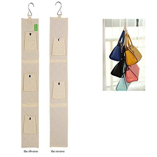 Queens 5 buckles Hanging Purse Rack Handbag Closet Organizer Storage with Hook (buff) - Queen Buckles