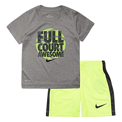 NIKE Children's Apparel Baby Boys Graphic T-Shirt and Shorts 2-Piece Set, Dark Grey Heather/Volt, 3/6M