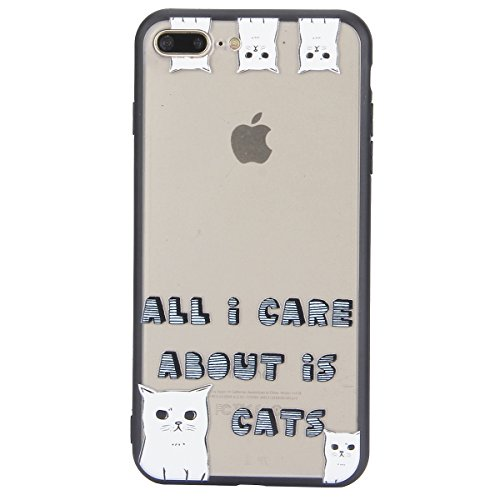 Carcasa para Apple iPhone 7 Plus, Funda para Apple iPhone 8 Plus,Surakey Suave Carcasa Caso Parachoques Diseño pintado Patrón (Pluma /Panda/Gato/Mandala/Flor de encaje/Bosque/Alpaca)para Apple iPhone  Gato