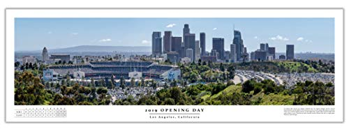 Chris Fabregas Fine Art Photography Dodger Stadium 2019 Opening Day Game Panoramic Poster with Boxscore ()