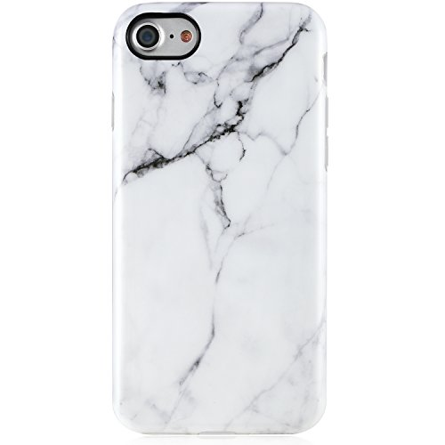 VIVIBIN iPhone 7 Case,iPhone 8 Case, Cute White Marble for Men Women Girls Clear Bumper Best Protective Shockproof Soft Silicone Rubber Matte TPU Cover Slim Fit Thin Phone Case for iPhone 7/iPhone 8