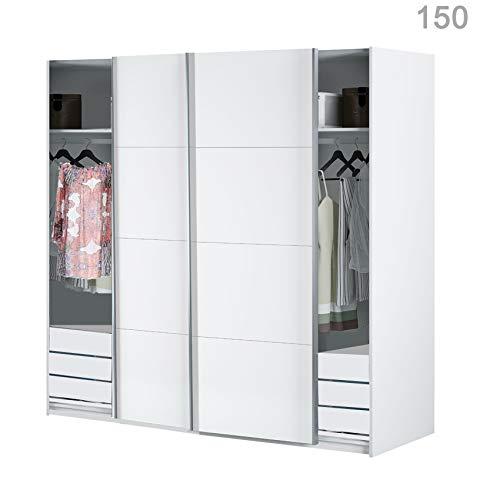 HABITMOBEL Armario Dormitorio Blanco 200 Puertas correderas, con ...