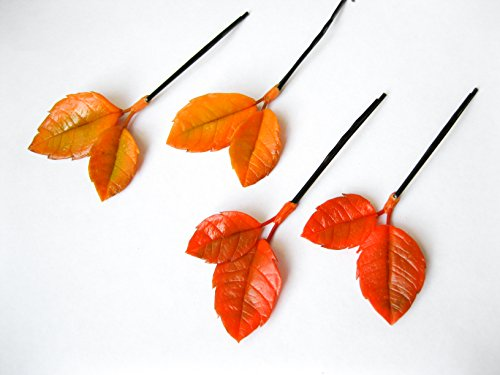 Autumn wedding bobby hair pin for bride Orange yellow fall leaves bridesmaids hairpiece set Handmade nature floral flower hair accessories botanical woodland forest Thanksgiving party rustic bohemian by MFlowerJewelry