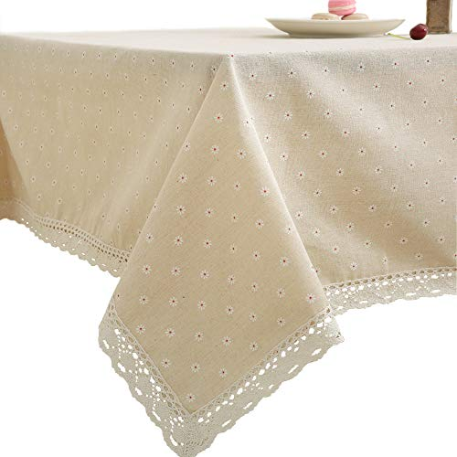 famibay Square Tablecloth, Cotton and Line Blended Square Tablecloth for Restaurant Kitchen Dining Table Book Desk Vintage Small Flower Pattern (55 Inch x 55 Inch)