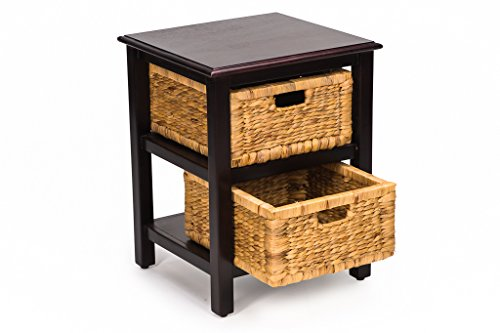 Castlencia Oriental Rustic Accent Side Table With 2 Removable Fine Handmade Drawers- Ideal Nightstand, Bedside Cabinet For Lamps, Vases, Candles and Phones with Storage Baskets For Living or Bedrooms