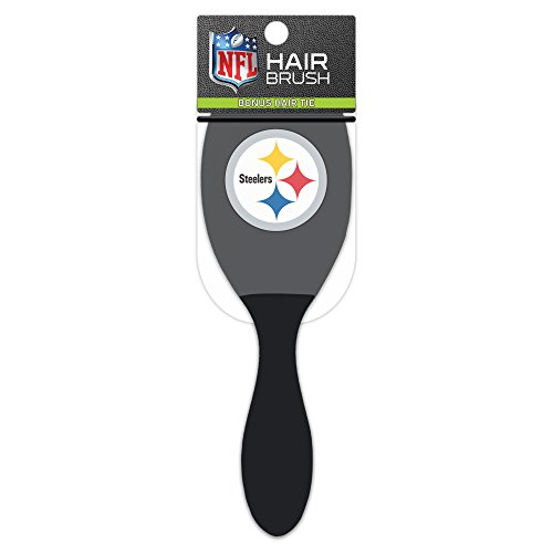 Worthy Promotional NFL Pittsburgh Steelers Salon Style Hair Brush with Ball Tipped Bristles and Bonus Hair tie