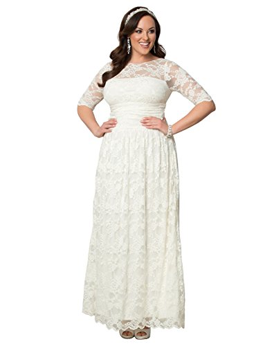Kiyonna Women's Plus Size Lace Illusion Wedding Gown 5X Ivory