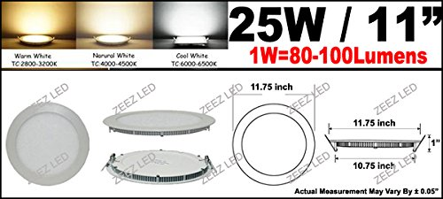 ZEEZ Lighting - 25W 11'' (OD 11.75'' / ID 10.75'') Round Cool White Dimmable LED Recessed Ceiling Panel Down Light Bulb Slim Lamp Fixture - 10 Packs by ZEEZ (Image #2)