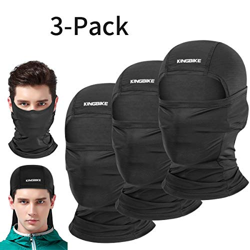 - KINGBIKE Balaclava Sun Face Mask Neck Gaiter Summer UV Protection Lightweight Cooling Breathable Multifunction Masks for Motorcycle Riding Fishing Cycling Running for Men Women Youth (3-Pack,black)