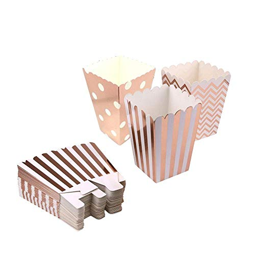 Rose gold Popcorn Boxes Cardboard Candy Party Favor Boxes Container,Open-Top Paper Popcorn Boxes For Birthday, Bridal Baby Shower,Carnival/Movie/Fiesta,Dessert Tables Wedding Party Supplies,36pcs]()