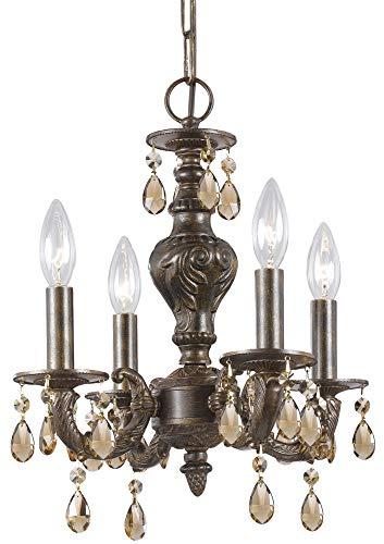 Crystorama 5024-VB-GT-MWP, Sutton Mini Crystal Chandelier Lighting, 4 Light, 240 Watts, Bronze - Mwp Venetian Bronze Finish