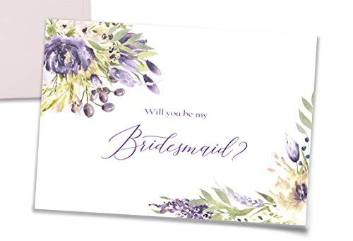 Bridesmaid Proposal Cards Set of 10 - Bridesmaid Cards, Maid of Honor Card, Matron of Honor Card, Flower Girl Card + Matching Envelope Seals