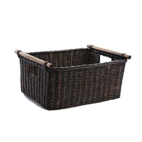 The Basket Lady Pole Handle Wicker Storage Basket, Extra Large, Antique Walnut Brown
