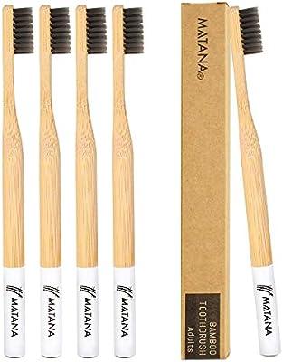5 Premium Cepillos de Dientes de Bambú, Adulto| Blanqueamiento de ...