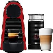 NESPRESSO Cafetera Essenza con Espumador de leche, Color Roja. (Incluye obsequio de 14 cápsulas de café)