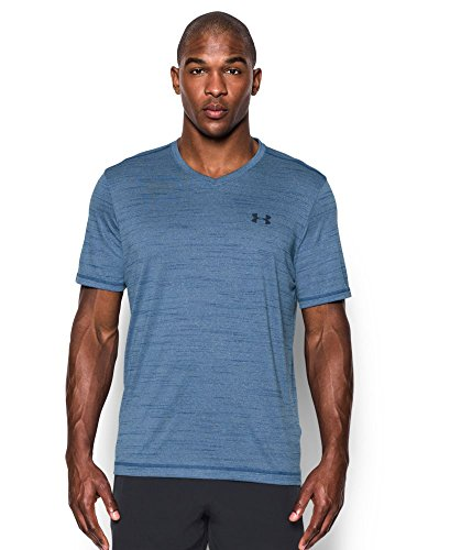 Under Armour Men's Tech V-Neck T-Shirt, Heron/Midnight Navy, Large