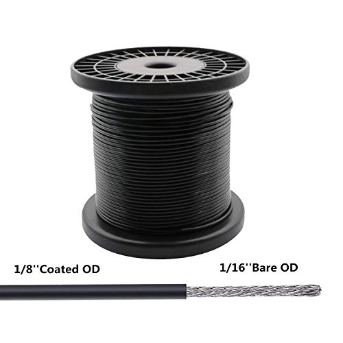 NITOO Stainless Steel 304 Black Wire Rope, Vinyl Coated, 7x7 Strand Core, Wire Rope OD is 1/16
