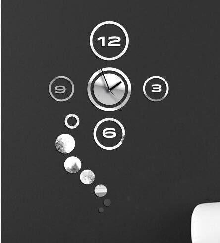 DHWM-Clock Fashion Creative Home Furnishing Mirror Personality Simplicity Clocks Acrylic Wall Clock Black