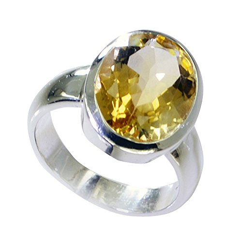 Citrine 925 Silver Ring - 55Carat Real Citrine 925 Silver Ring For Women Oval Shape Bezel Style Birthstone Size 5,6,7,8,9,10,11,12