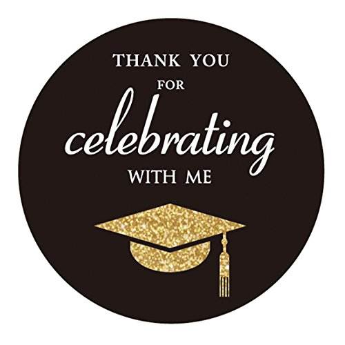 (MAGJUCHE Gold Class of 2019 Graduation Thank You Stickers, Congrats Grad Party Circle Favor Sticker Labels, 40-Pack,)