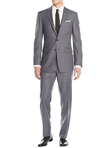 Luciano Natazzi Men's Two Button Suit Modern Fit Jacket Flat Front Pant Birdseye (42 Regular US / 52R EU / W 36