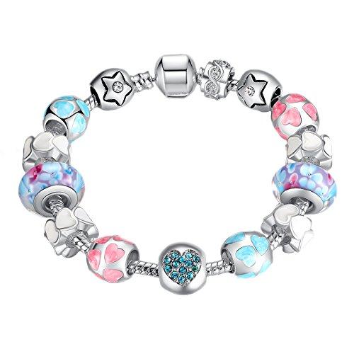 D.B.MOOD Glass Beads Heart Silver Plated Charm Bracelet Gifts for Women Teen Girls,7.48