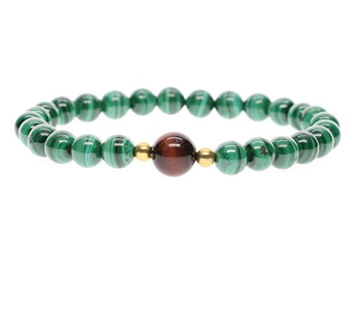 AmorWing Malachite and Tiger Eye Chakra Balancing Bracelet Protective Bracelet Yoga Bracelet for Women 8mm
