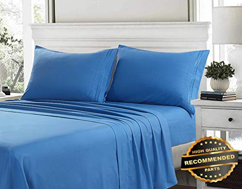 - Sandover 100% Egyptian Cotton Deep Pocket Ultimate 4 Piece Bed Sheet Set Hypoallergenic| Size King | Style DUV-5301218201