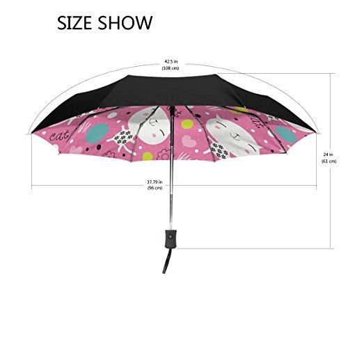 DEZIRO Endearing Kitty Outdoor?Umbrella?auto Open Windproof Waterproof