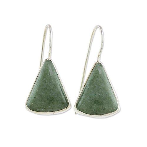 NOVICA Jade .925 Sterling Silver Drop Earrings, Apple Green Mayan Triangles'