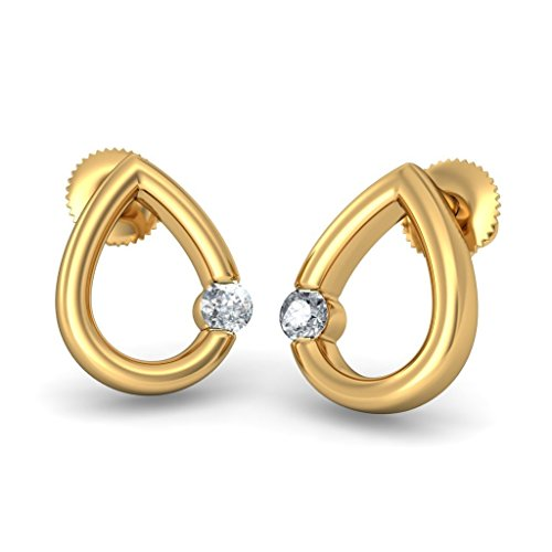 Or jaune 18 K 0.11 CT TW White-diamond (IJ | SI) Boucles d'oreille à tige