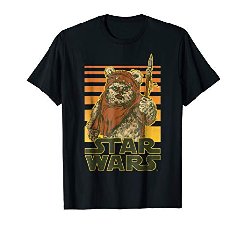 Star Wars Wicket Retro Ewok Sunset Halftone Graphic T-Shirt