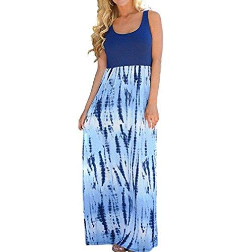 Blaub linea Donna Bekleidung Vestito a maniche ad SANFASHION Senza w8pPv6n7nx
