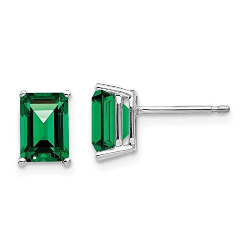 (14K White Gold 7x5mm Emerald Cut Mount St. Helens Earrings 5 mm 8 mm Stud Earrings Jewelry)