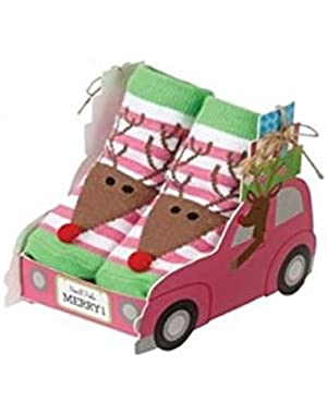 Oh Christmas Tree Baby Girl Car Gift Box With Socks (Reindeer)