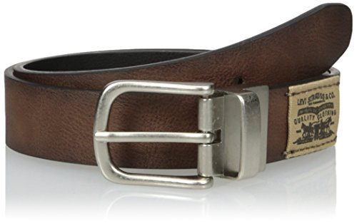 Levi's Big Boys Reversible Casual Belt with Canvas Logo, Tan/black, Small