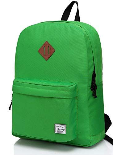 - Lightweight Backpack for School, VASCHY Classic Basic Water Resistant Casual Daypack for Travel with Bottle Side Pockets (Green)