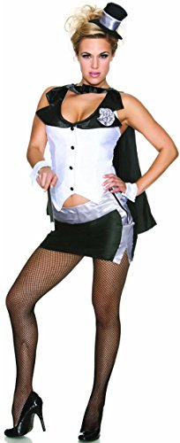 Magician's Assistant Costume (Delicious Abracadabra Costume, Black/White, Small)