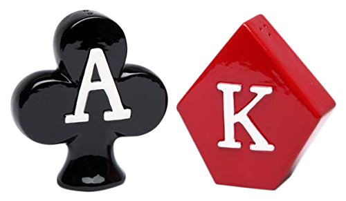 Cg 20724 King of Diamonds & Ace of Clubs Poker Style Salt & Pepper Shakers