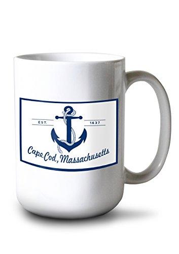 Lantern Press Cape Cod, Massachusetts - Blue and White Anchor (15oz White Ceramic Mug)