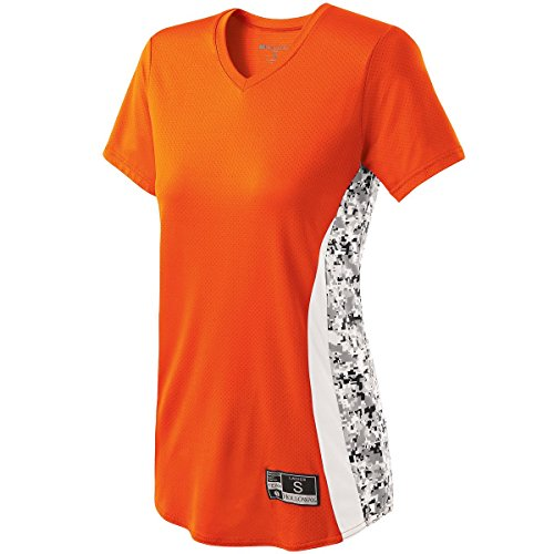 GIRLS' CHANGE-UP SOFTBALL JERSEY Holloway Sportswear S Orange/White/White Print by Holloway