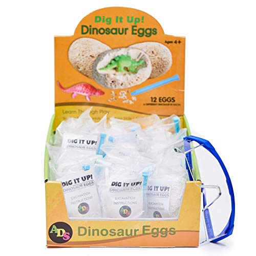 ADS Ultimate 12 Dinosaur Eggs Science Kit–Dig Up Dino Fossils and Assemble Skeleton Set! - Each Includes 1 Piece of Chisels by ADS (Image #1)