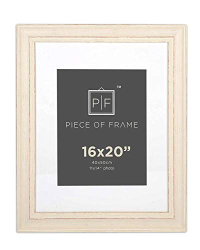 Golden State Art, 16x20 Cream Color Photo Frame, Shabby Chic Pattern, with Ivory Mat for 11x14 Picture or Photo, and Real Glass -
